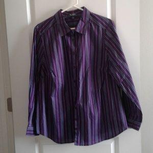 Roaman's Striped long sleeve shirt sz 20W purple